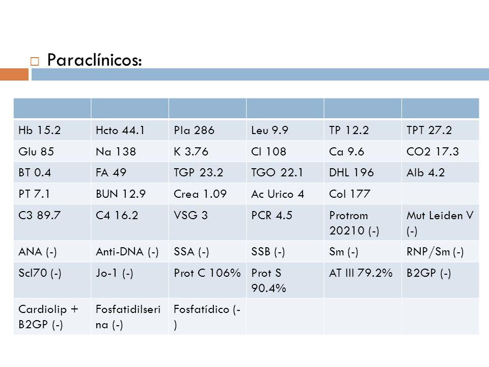 Paraclínicos: Hb 15.2 Hcto 44.1 Pla 286 Leu 9.9 TP 12.2 TPT 27.2