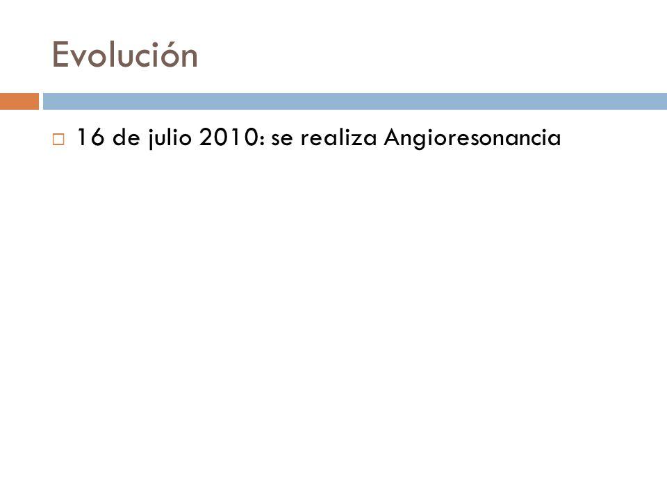 Evolución 16 de julio 2010: se realiza Angioresonancia
