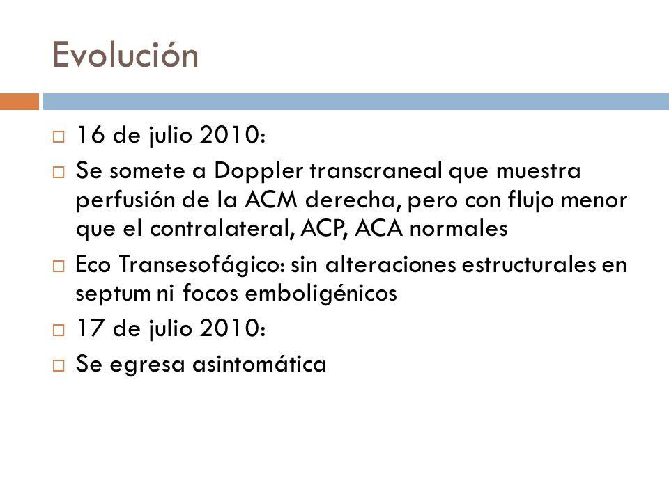 Evolución 16 de julio 2010: