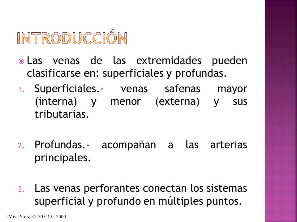 introducción Las venas de las extremidades pueden clasificarse en: superficiales y profundas.