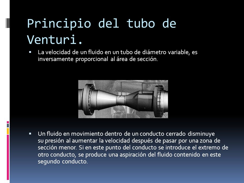 Principio del tubo de Venturi.