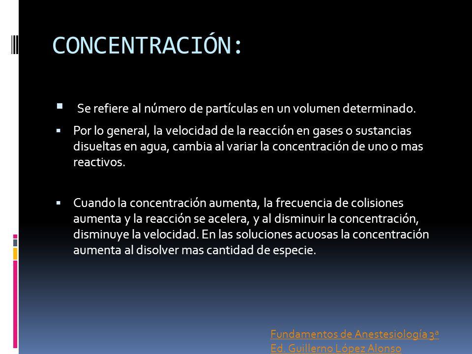 CONCENTRACIÓN: Se refiere al número de partículas en un volumen determinado.