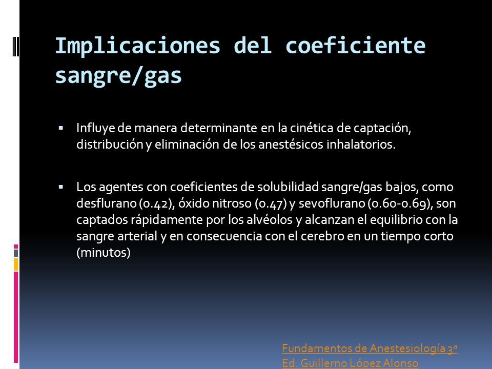 Implicaciones del coeficiente sangre/gas