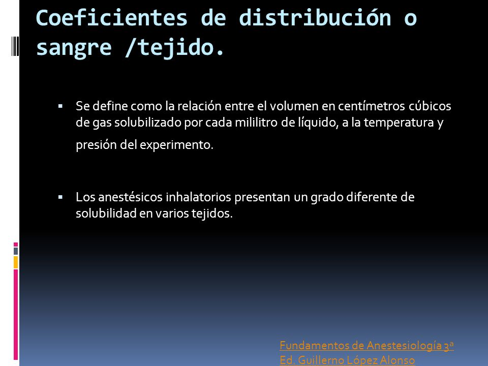 Coeficientes de distribución o sangre /tejido.