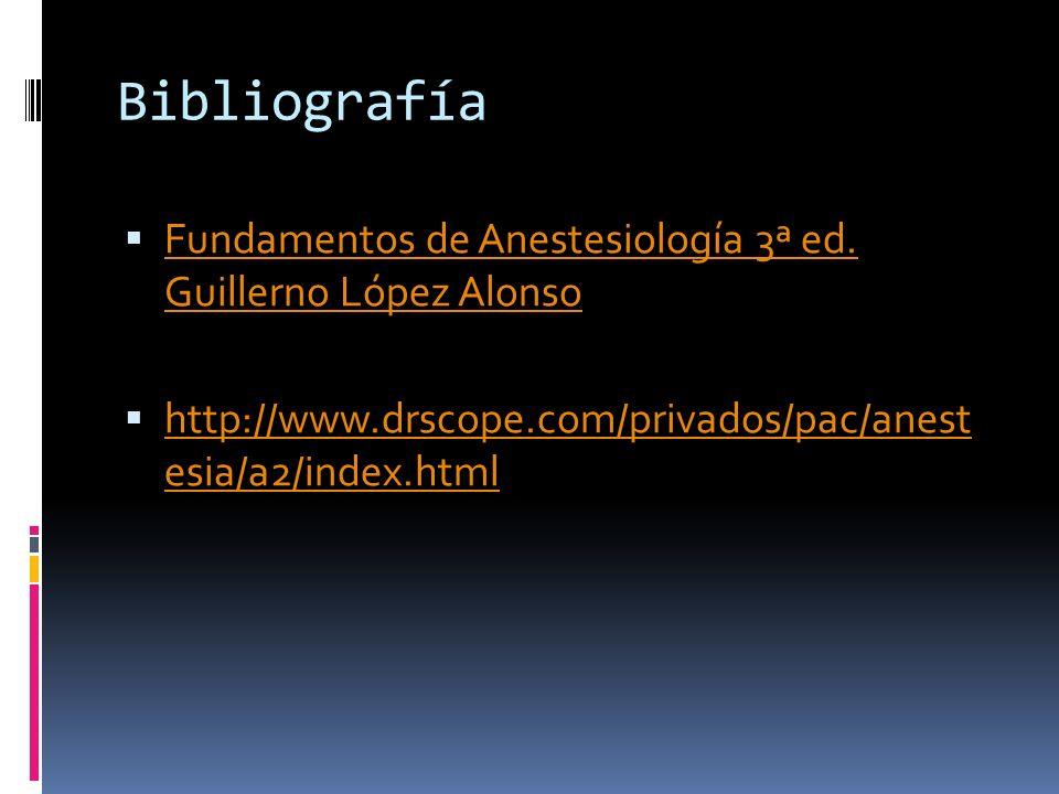 Bibliografía Fundamentos de Anestesiología 3ª ed. Guillerno López Alonso.