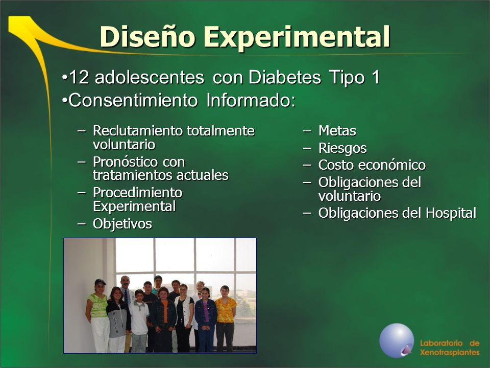 Diseño Experimental 12 adolescentes con Diabetes Tipo 1