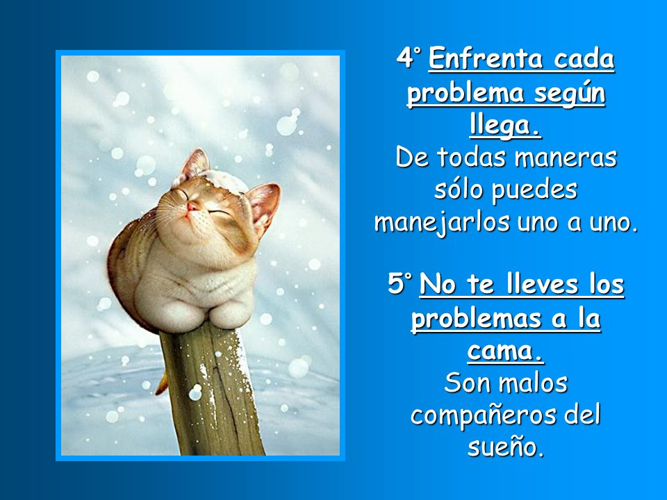 4° Enfrenta cada problema según llega