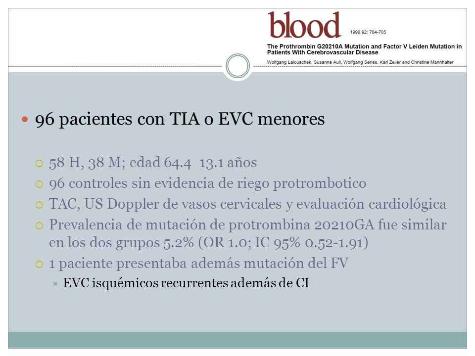 96 pacientes con TIA o EVC menores