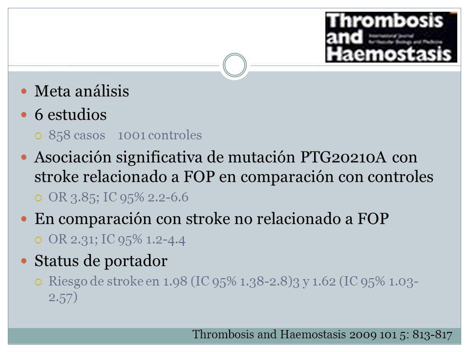 En comparación con stroke no relacionado a FOP Status de portador