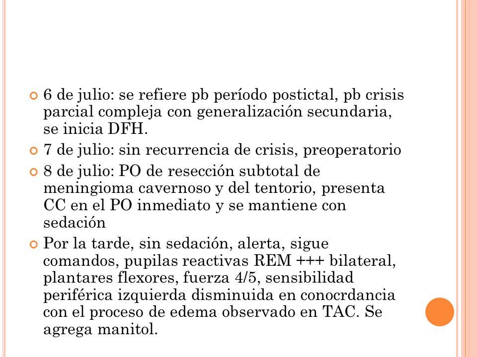 6 de julio: se refiere pb período postictal, pb crisis parcial compleja con generalización secundaria, se inicia DFH.