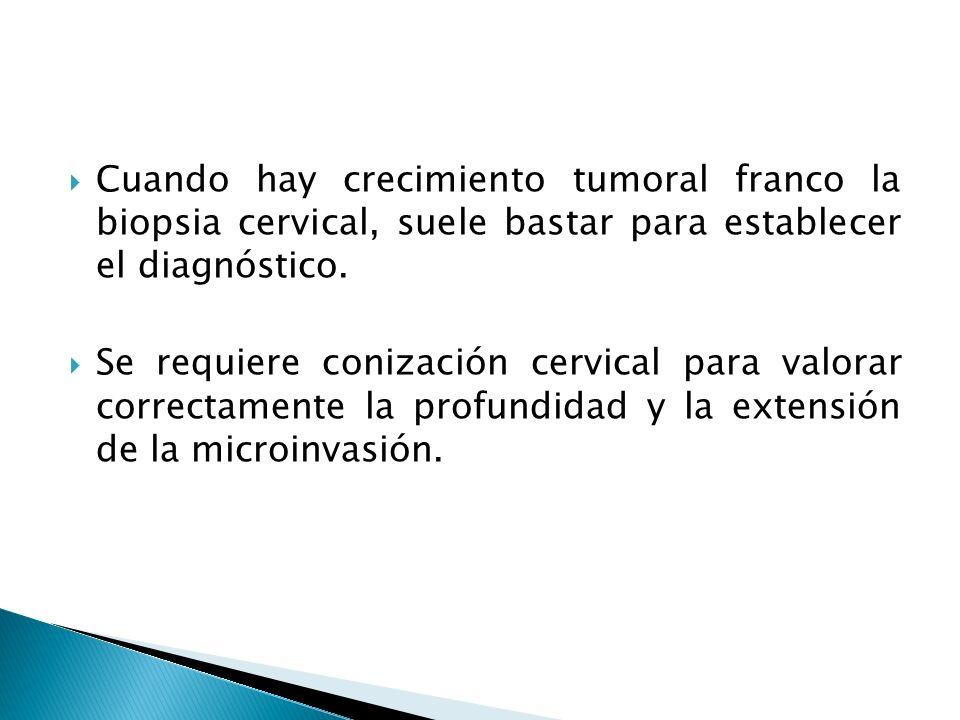 Cuando hay crecimiento tumoral franco la biopsia cervical, suele bastar para establecer el diagnóstico.