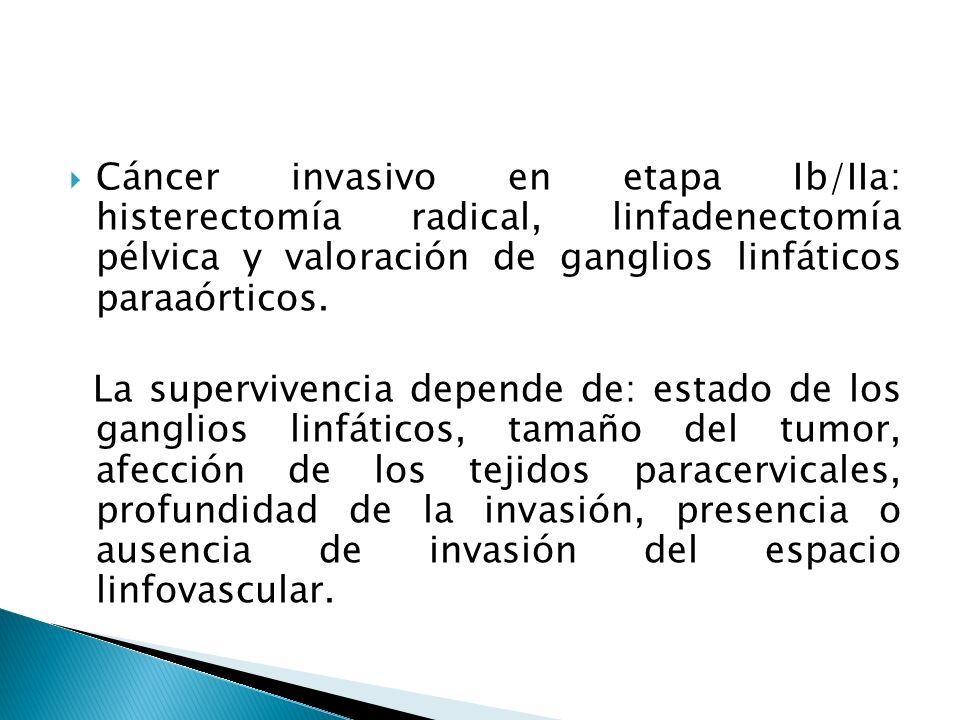Cáncer invasivo en etapa Ib/IIa: histerectomía radical, linfadenectomía pélvica y valoración de ganglios linfáticos paraaórticos.