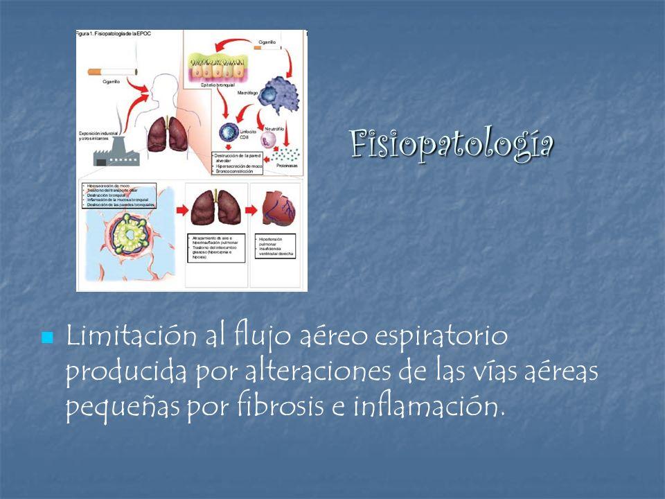 Fisiopatología Limitación al flujo aéreo espiratorio producida por alteraciones de las vías aéreas pequeñas por fibrosis e inflamación.