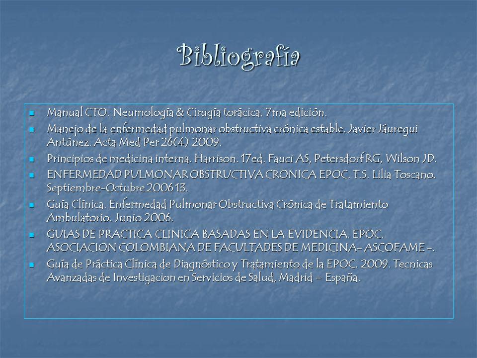Bibliografía Manual CTO. Neumología & Cirugía torácica. 7ma edición.