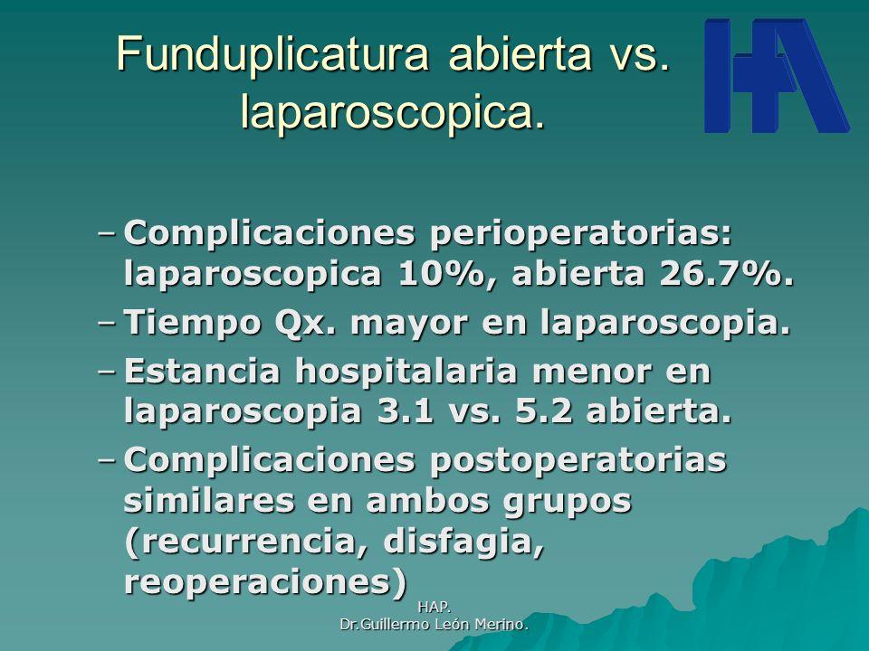 Funduplicatura abierta vs. laparoscopica.