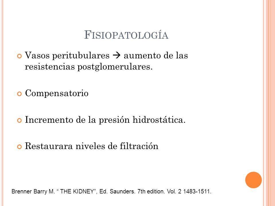Fisiopatología Vasos peritubulares  aumento de las resistencias postglomerulares. Compensatorio.