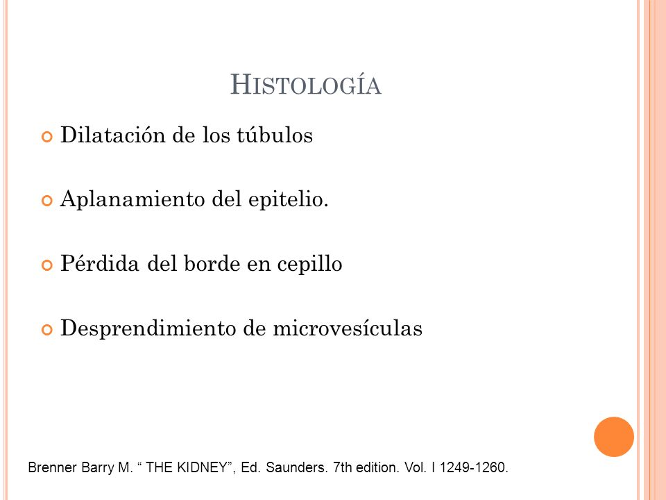 Histología Dilatación de los túbulos Aplanamiento del epitelio.