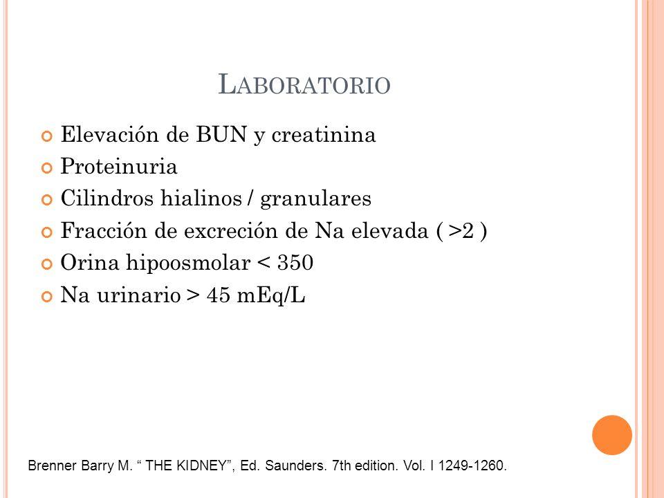 Laboratorio Elevación de BUN y creatinina Proteinuria