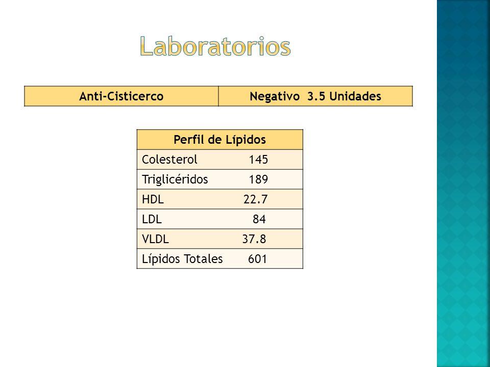 Laboratorios Anti-Cisticerco Negativo 3.5 Unidades Perfil de Lípidos