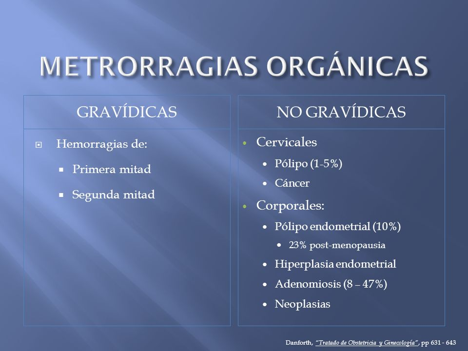 METRORRAGIAS ORGÁNICAS