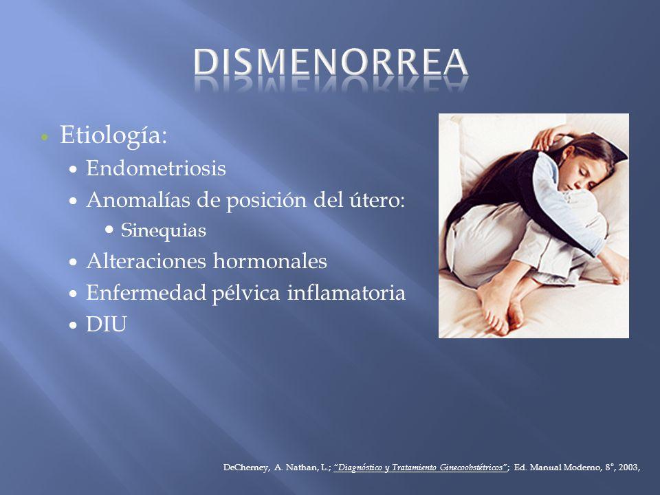 DISMENORREA Etiología: Endometriosis Anomalías de posición del útero: