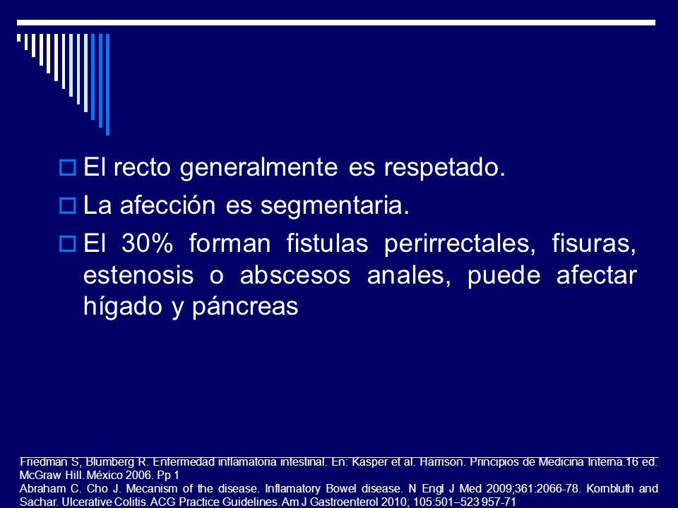 El recto generalmente es respetado. La afección es segmentaria.