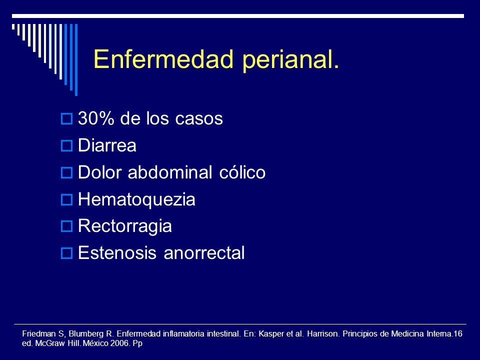 Enfermedad perianal. 30% de los casos Diarrea Dolor abdominal cólico