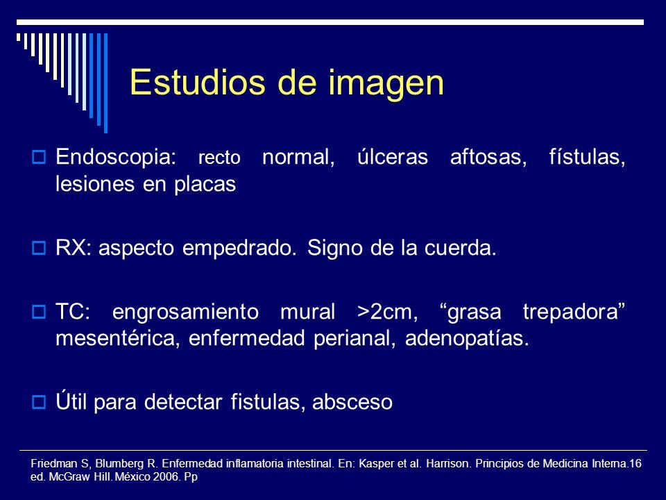 Estudios de imagenEndoscopia: recto normal, úlceras aftosas, fístulas, lesiones en placas. RX: aspecto empedrado. Signo de la cuerda.