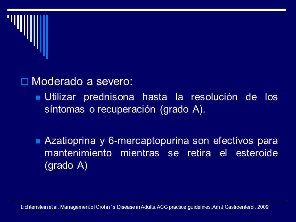 Moderado a severo: Utilizar prednisona hasta la resolución de los síntomas o recuperación (grado A).