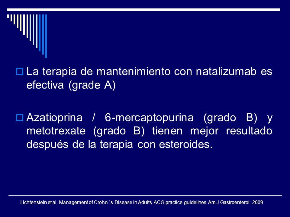 La terapia de mantenimiento con natalizumab es efectiva (grade A)
