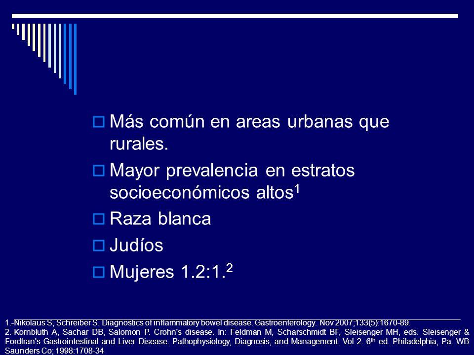 Más común en areas urbanas que rurales.