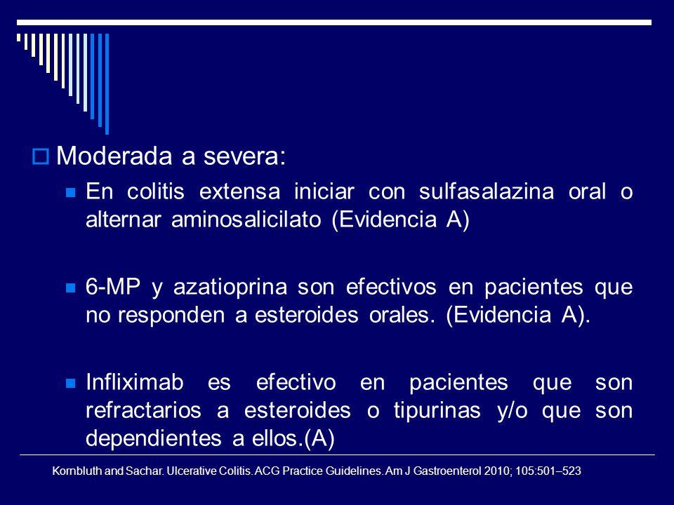 Moderada a severa: En colitis extensa iniciar con sulfasalazina oral o alternar aminosalicilato (Evidencia A)