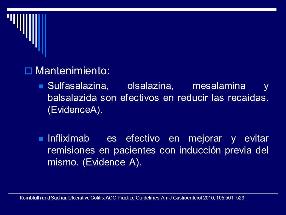 Mantenimiento: Sulfasalazina, olsalazina, mesalamina y balsalazida son efectivos en reducir las recaídas. (EvidenceA).