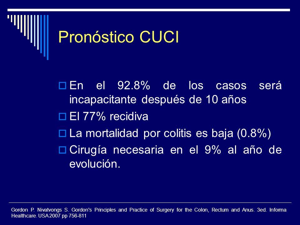 Pronóstico CUCI En el 92.8% de los casos será incapacitante después de 10 años. El 77% recidiva. La mortalidad por colitis es baja (0.8%)