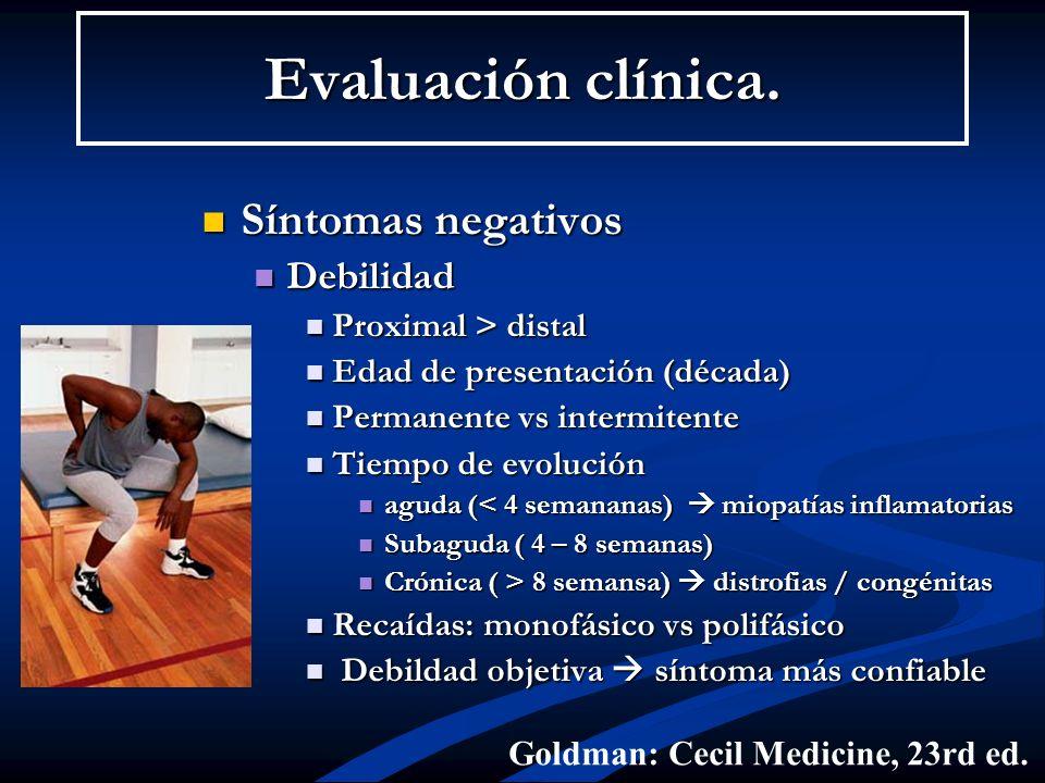 Evaluación clínica. Síntomas negativos Debilidad Proximal > distal