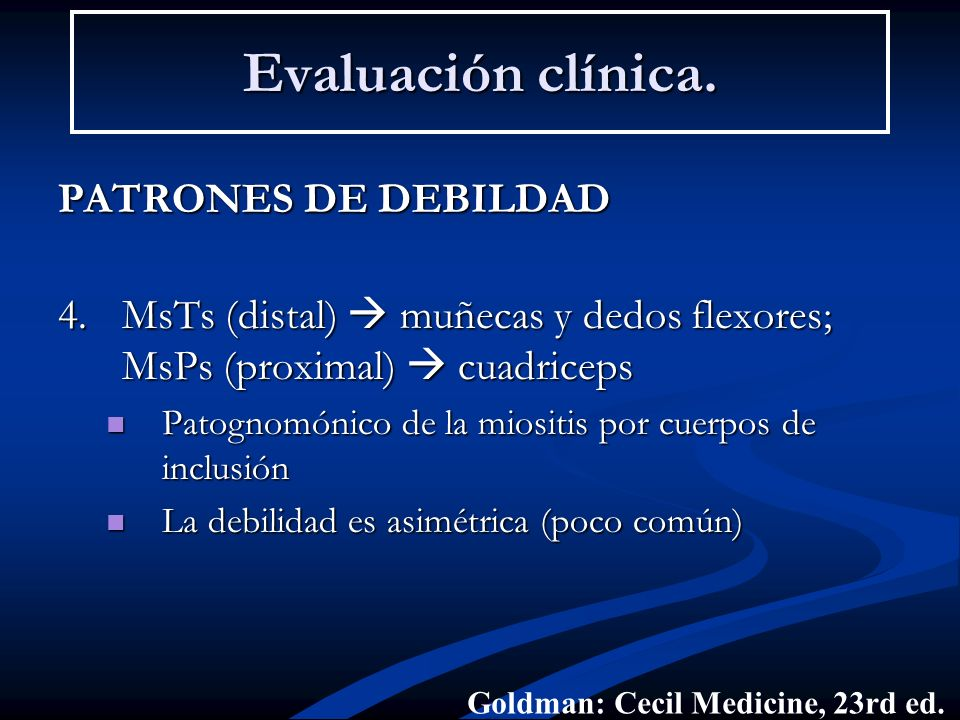 Evaluación clínica. PATRONES DE DEBILDAD