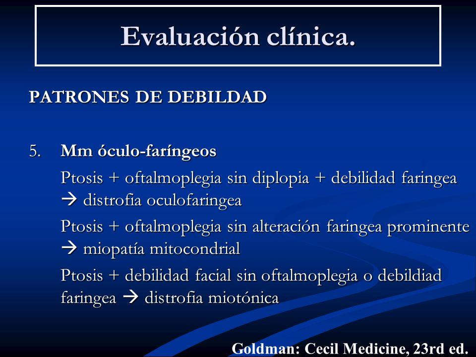 Evaluación clínica. PATRONES DE DEBILDAD 5. Mm óculo-faríngeos