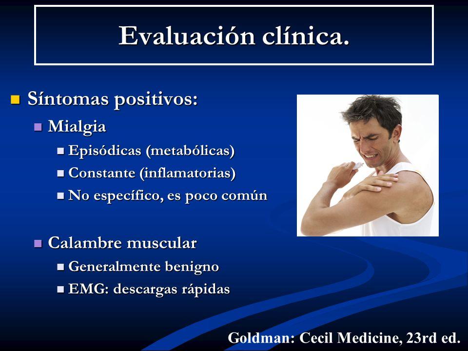 Evaluación clínica. Síntomas positivos: Mialgia Calambre muscular