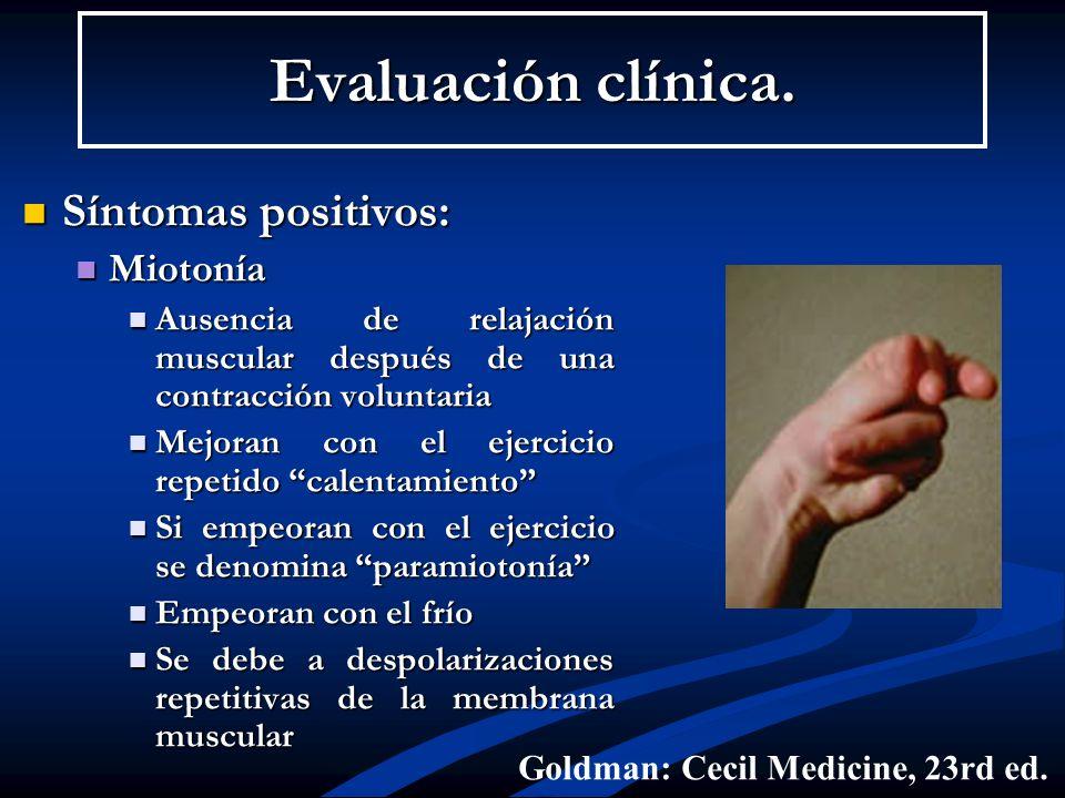Evaluación clínica. Síntomas positivos: Miotonía