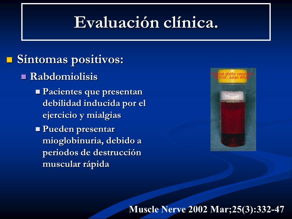 Evaluación clínica. Síntomas positivos: Rabdomiolisis