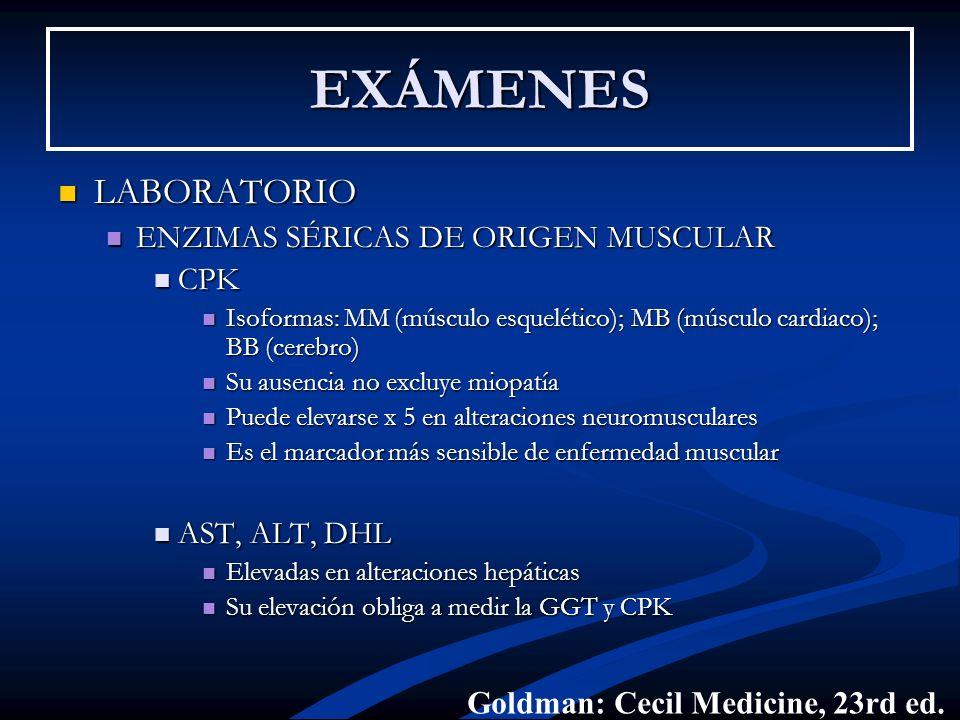 EXÁMENES LABORATORIO ENZIMAS SÉRICAS DE ORIGEN MUSCULAR CPK