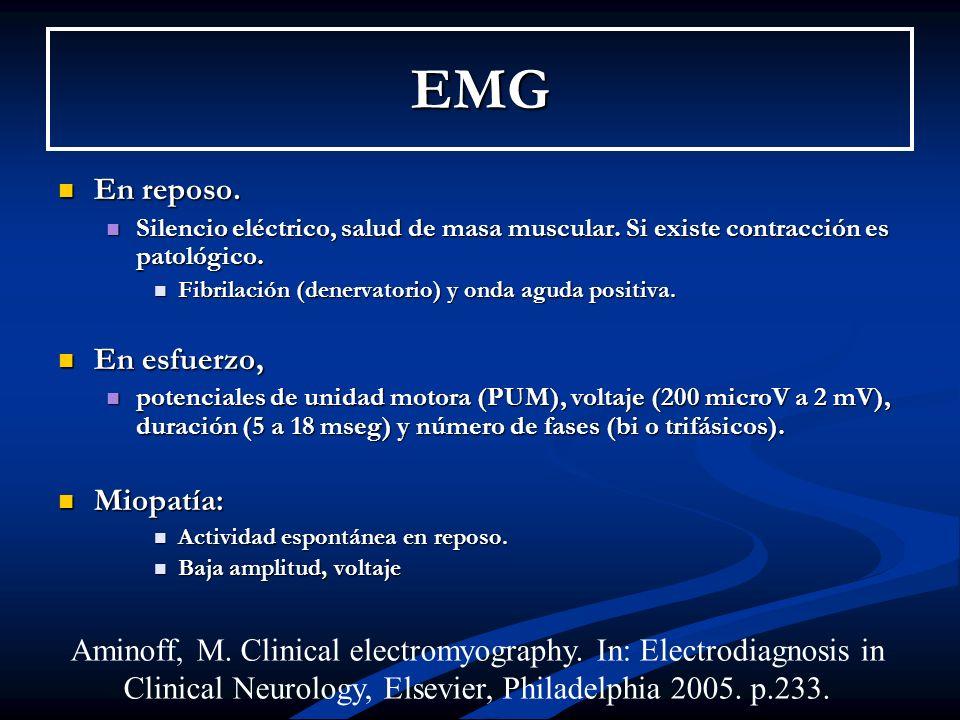 EMG En reposo. En esfuerzo, Miopatía: