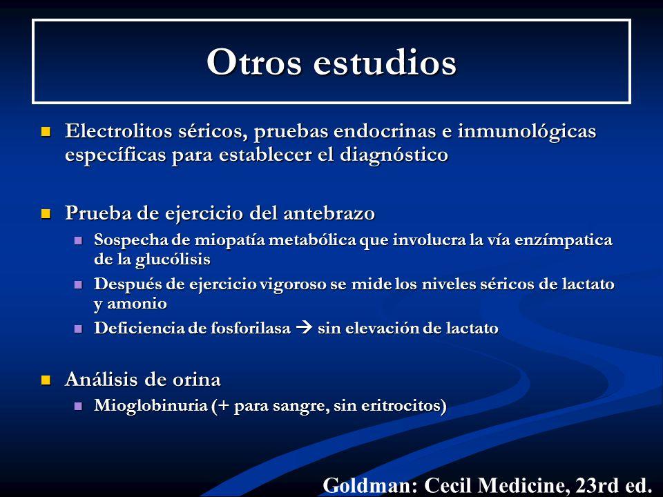 Otros estudios Electrolitos séricos, pruebas endocrinas e inmunológicas específicas para establecer el diagnóstico.