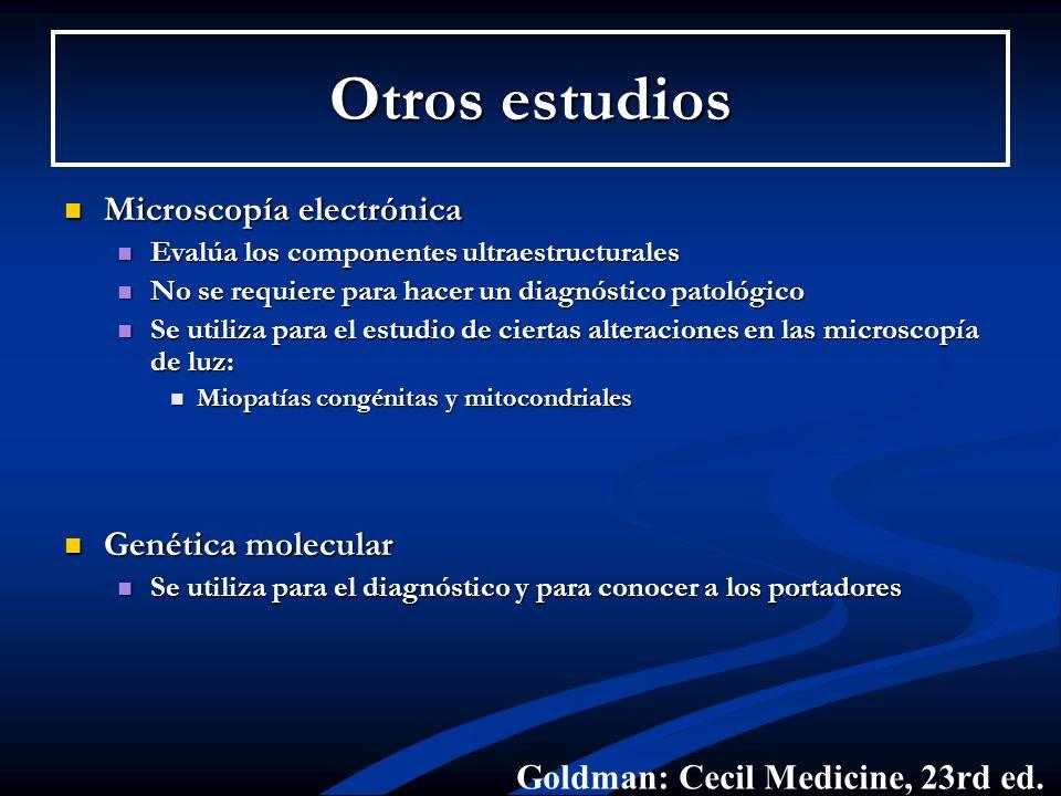 Otros estudios Microscopía electrónica Genética molecular