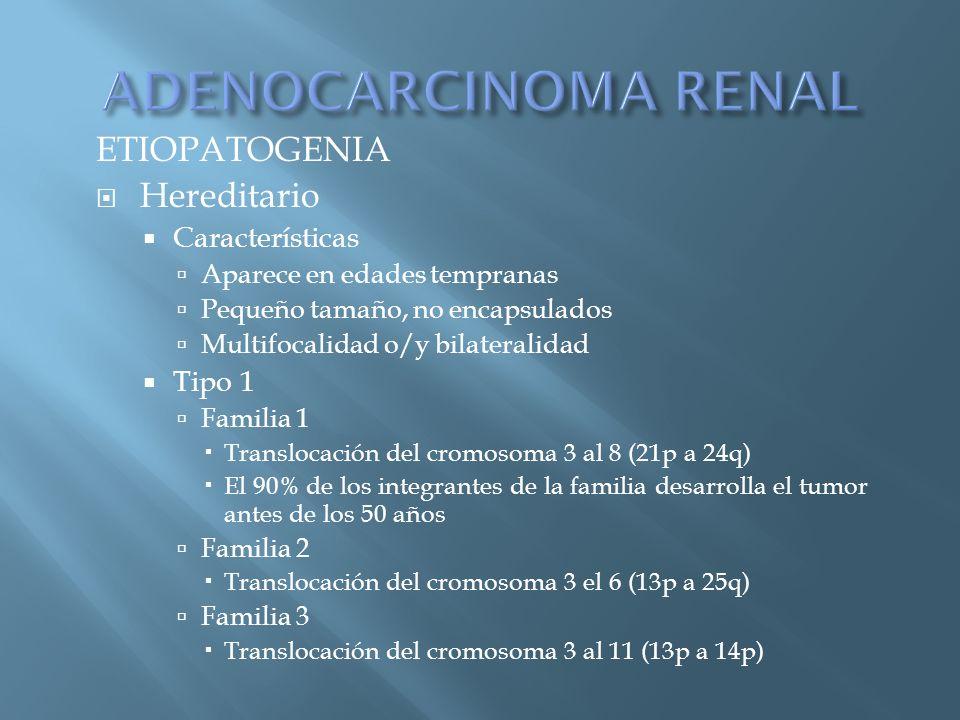 ADENOCARCINOMA RENAL ETIOPATOGENIA Hereditario Características Tipo 1