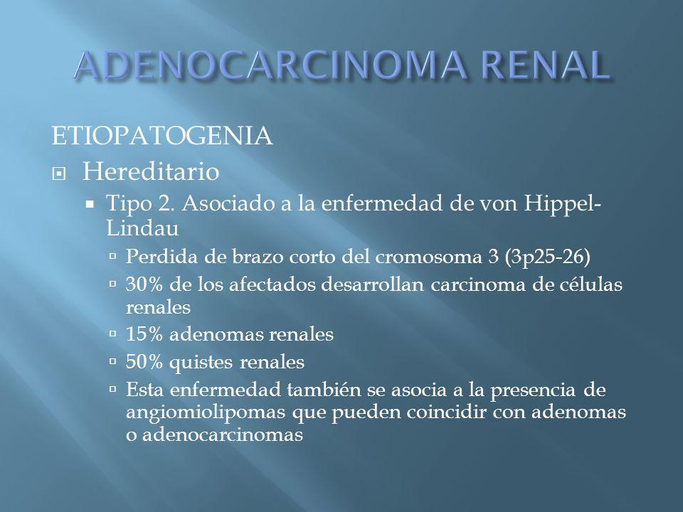 ADENOCARCINOMA RENAL ETIOPATOGENIA Hereditario