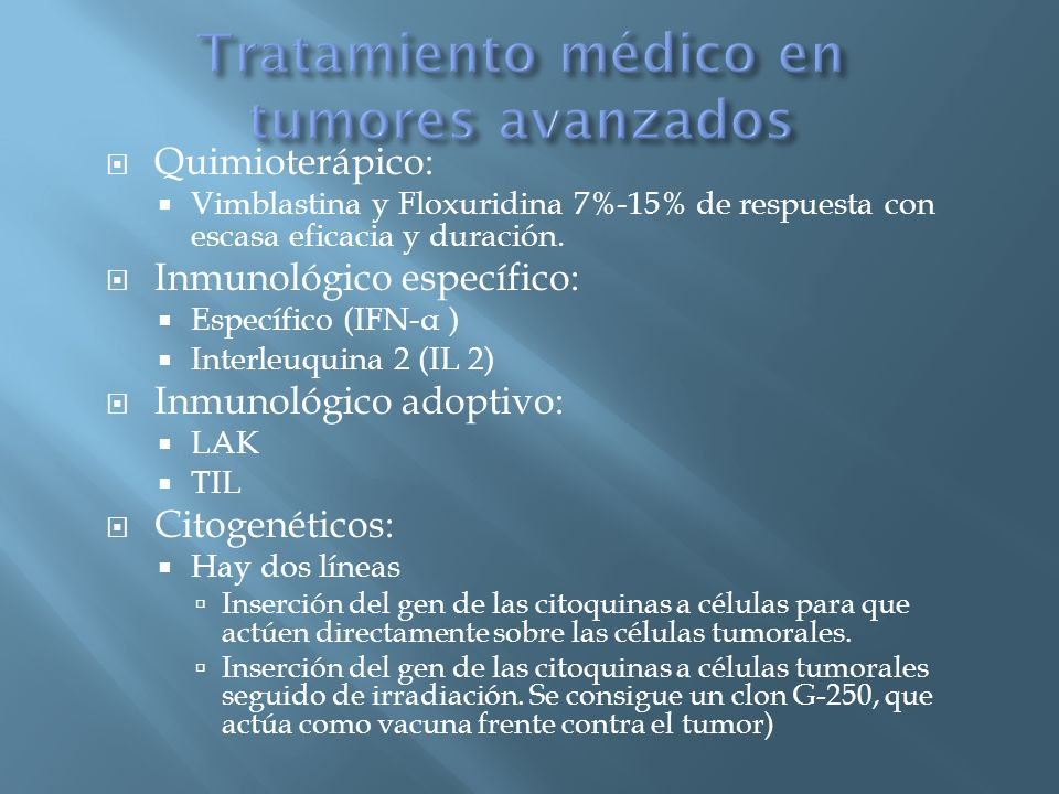 Tratamiento médico en tumores avanzados