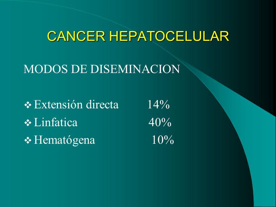 CANCER HEPATOCELULAR MODOS DE DISEMINACION Extensión directa 14%