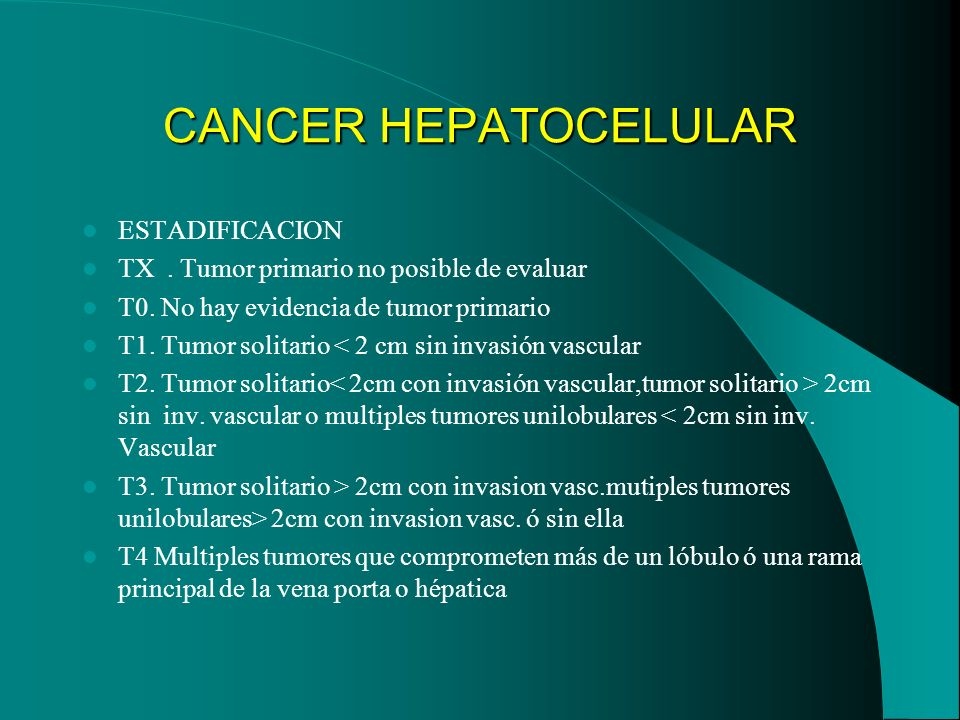CANCER HEPATOCELULAR ESTADIFICACION