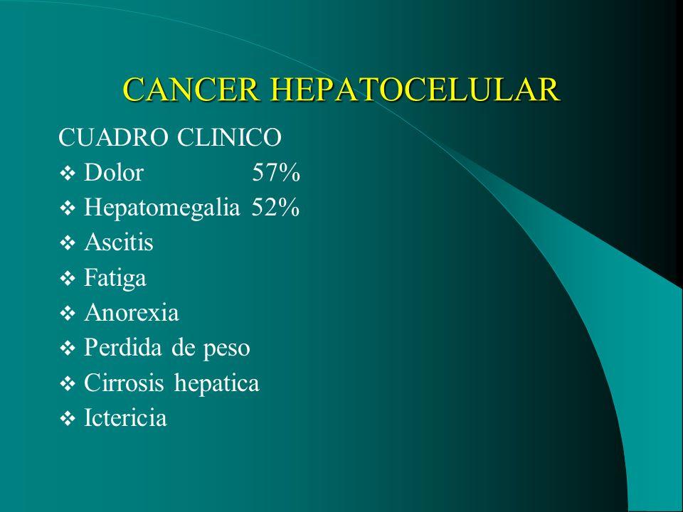CANCER HEPATOCELULAR CUADRO CLINICO Dolor 57% Hepatomegalia 52%